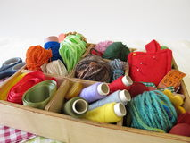 Collection box with craft supplies for needlework Royalty Free Stock Images