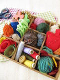 Collection box with craft supplies for needlework Stock Image