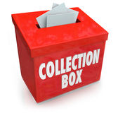 Collection Box Fund Raising Drive Donation Support Money Help. Collection Box words on a container to collect money, donations and financial support from donors Royalty Free Stock Images