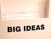 Collection box labeled Big Ideas with empty form Royalty Free Stock Photo
