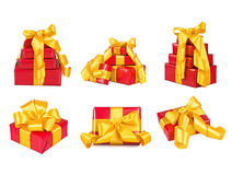 Collection of boxes with the gifts Royalty Free Stock Photos