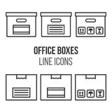 Collection of boxes and package in line style design Royalty Free Stock Photo
