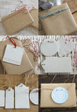 Collection boxes wrapped in recycled paper with label Stock Image
