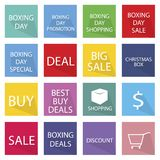 Collection of Boxing Day Banner for Special Price Products Royalty Free Stock Photo
