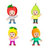 The collection of the boy children using the fruits costume with different posing royalty free illustration