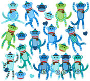 Collection of Boy Sock Monkey Vectors. And Faces Stock Photography