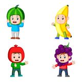 The collection boys pose using the fruits costume with different colour vector illustration