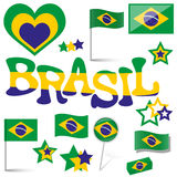 Collection - Brasil icons and marketing accessories Royalty Free Stock Image