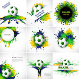 Collection Brazil flag set colors concept splash grunge Royalty Free Stock Image