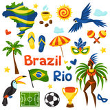 Collection of Brazil stylized objects and cultural. Symbols Stock Images