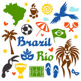 Collection of Brazil stylized objects and cultural Stock Photography