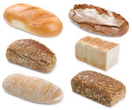 Collection of bread breads whole grains isolated Royalty Free Stock Photos