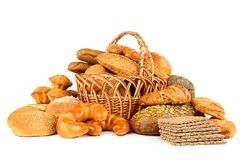 Collection of bread products isolated on white. Background Stock Image