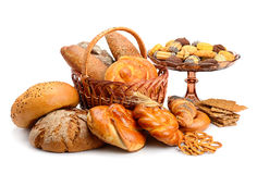 Collection of bread products isolated on white Royalty Free Stock Photography