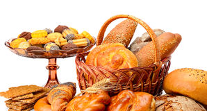 Collection of bread products isolated on white Stock Image