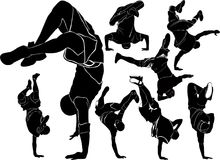 collection breakdance break dance. Silhouettes breakdancer on a Stock Photography