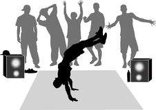 Collection breakdance silhouette Stock Images
