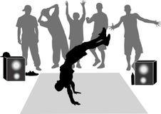 Collection breakdance silhouette. Break dance stock illustration