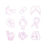 Collection of breast cancer awareness icons. Collection of labels with breast cancer awareness elements for your project.  Vector hand drawn icons in modern line Stock Images