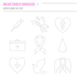 Collection of breast cancer awareness icons. Collection of labels with breast cancer awareness elements for your project.  Vector hand drawn icons in modern line Stock Photos