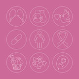 Collection of breast cancer awareness icons. Collection of labels with breast cancer awareness elements for your project.  Vector hand drawn icons in modern line Royalty Free Stock Photos