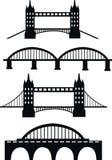 Collection of bridge designs silhouette. Black design of modern bridge vector illustration