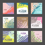 Collection of bright abstract cards for your design. Hand-drawn. Vector Royalty Free Stock Photography