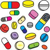 Collection Of Bright Cartoon Vector Drugs and Pills royalty free illustration