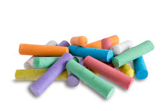 Collection of bright colorful chalk crayons Royalty Free Stock Images