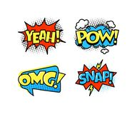 Collection of bright, colorful, multi-colored speech bubbles, with text, texture. Royalty Free Stock Images