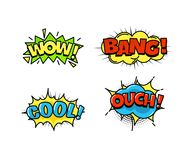 Collection of bright, colorful, multi-colored speech bubbles, with text, texture. Stock Image