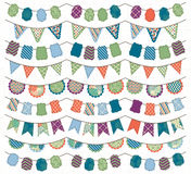 Collection of Bright and Colorful Wedding, Holiday, Birthday or Party Bunting Royalty Free Stock Image