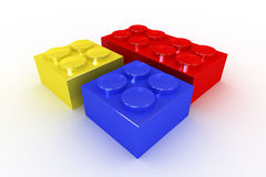 A Collection of Bright Coloured Building Blocks Royalty Free Stock Photos