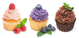 Collection of bright cupcakes with fresh berries Stock Images