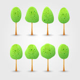 Collection of bright green trees with drop shadow. Vector illust Stock Image
