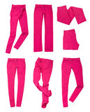 Collection of bright pink jeans Stock Images