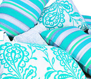 Collection of bright turquoise cushions Royalty Free Stock Photography