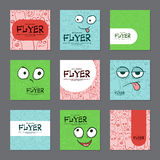 Collection of brightly colored postcards with funny faces. Vector Stock Photos