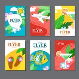 Collection of brightly colored rectangular card on travel and leisure. Flat style. Illustration stock illustration