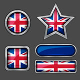 Collection of british flag icons Royalty Free Stock Images