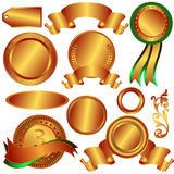 Collection bronze medals and counters (vector). Collection bronze medals and counters on white background stock illustration