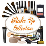 Collection of brown shades cosmetics items royalty free illustration