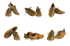 Collection of brown suede leather shoes. On white background Royalty Free Stock Photo