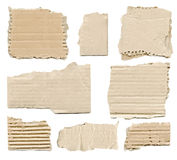 Collection of brown torn paper pieces Stock Images