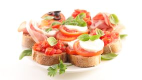 Collection of bruschettas. On white royalty free stock photos