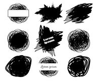 Collection of Brush hand drawing spot boxes. For your text isolated on white background. Vector illustration for paintbrush grunge design elements stock illustration