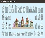 Collection of building icons Stock Image