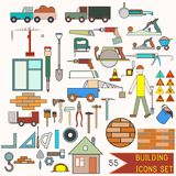 Collection of building icons. 55 elements Stock Photos