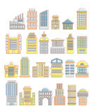Collection of buildings, houses and architectural objects. Urban. Elements in cartoon style. Icons of public buildings and facilities. Skyscrapers and arches Stock Photography