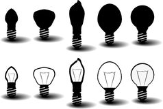 Collection of bulbs. Collection of several bulbs on white background with shadows Royalty Free Stock Photography
